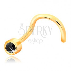 Nose piercing made of yellow 14K gold - bent shape, black zircon in mount