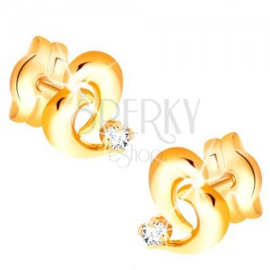 Brilliant 585 gold earrings - contour of asymmetric heart, diamond in clear colour