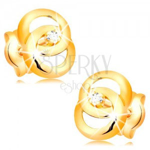 Earrings made of yellow 14K gold - two joined circles, brilliant in the middle