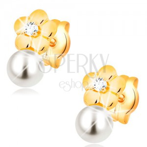 Earrings made of yellow 14K gold, shiny flower with clear diamond, white pearl
