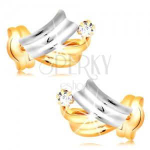 Brilliant 14K gold earrings - shiny bicoloured arcs, clear round diamond