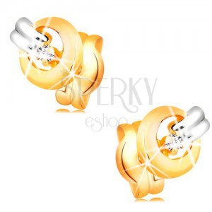 Earrings made of 14K gold - glossy clear diamond in shiny hoop, strip made of white gold