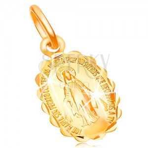 Pendant made of yellow 14K gold - two-sided locket with Holy Mary