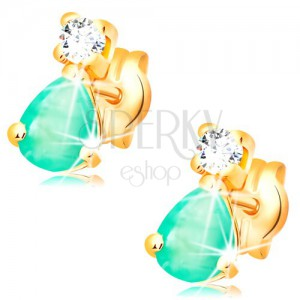 Earrings made of yellow 14K gold - teardrop green emerald, round clear diamond