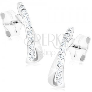 Earrings made of white 14K gold - loop curved into arch, clear zircons
