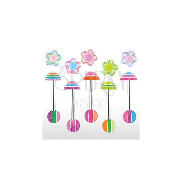 Multicolour flower tongue ring