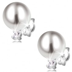 585 gold earrings - white pearl and lustrous round zircon, white gold