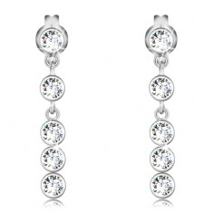 Earrings made of white 14K gold - round clear zircons in vertical line