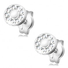 Earrings made of white 14K gold - smooth middle, rim composed of clear zircons