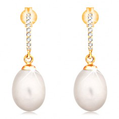 14K gold earrings - dangling oval pearl in white colour, zircon arc