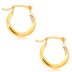 Earrings made of yellow 14K gold - small shiny circles, French lock