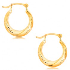 Round earrings made of yellow 14K gold - motif of twisted rope, high gloss