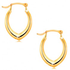 Earrings made of yellow 14K gold - pointed horseshoe, shiny smooth surface