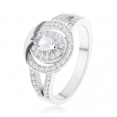 925 silver ring, clear zircon hoop with grain zircon in the middle