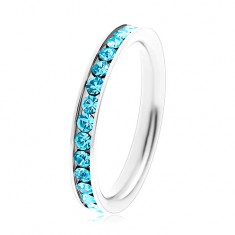 Ring made of surgical steel - round zircons in aquamarine colour