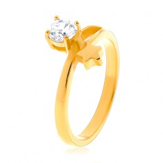 Steel ring in gold colour, star and round clear zircon