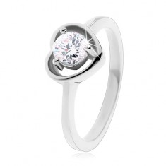Ring made of 316L steel in silver colour, heart contour, clear zircon