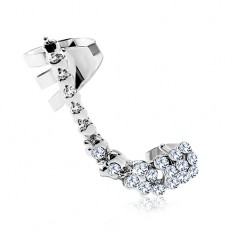 Fake steel ear piercing, arc composed of clear zircons and small apple