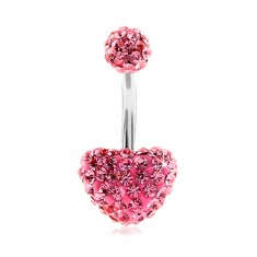 Steel bellybutton piercing, ball and heart, pink sparkly zircons