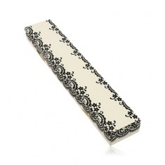 Creamy paper box for chain or bracelet, motif of lace in black colour