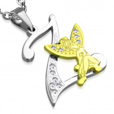 Steel pendant, letter Z decorated with clear zircons, fairy in gold colour