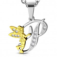 Steel pendant, letter P decorated with clear zircons, fairy in gold colour