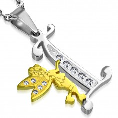 Pendant made of 316L steel, letter I with fairy, bicoloured design, clear zircons