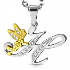 Pendant made of surgical steel, big letter H with fairy and clear zircons