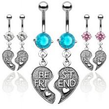 Double belly ring - BEST FRIEND broken heart
