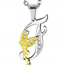 Pendant made of 316L steel, letter F with fairy, bicoloured design, clear zircons
