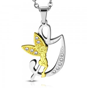 Steel pendant, letter D decorated with clear zircons, fairy in gold colour