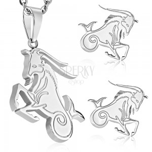 Set made of surgical steel in silver colour, pendant and earrings, zodiac sign CAPRICORN