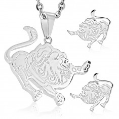 Set made of 316L steel in silver colour, earrings and pendant, zodiac sign LEO