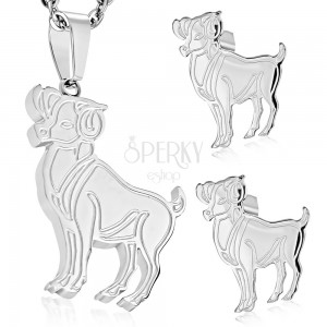 Set made of 316L steel in silver colour - pendant and earrings, zodiac sign ARIES