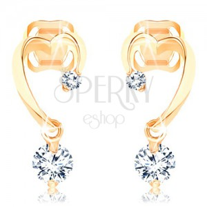 Diamond 585 gold earrings - incomplete heart contour, two glossy brilliants