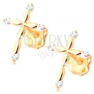 585 gold diamond earrings - Latin cross, clear brilliants