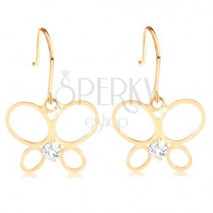 Earrings made of yellow 14K gold - thin butterfly contour, round clear diamond