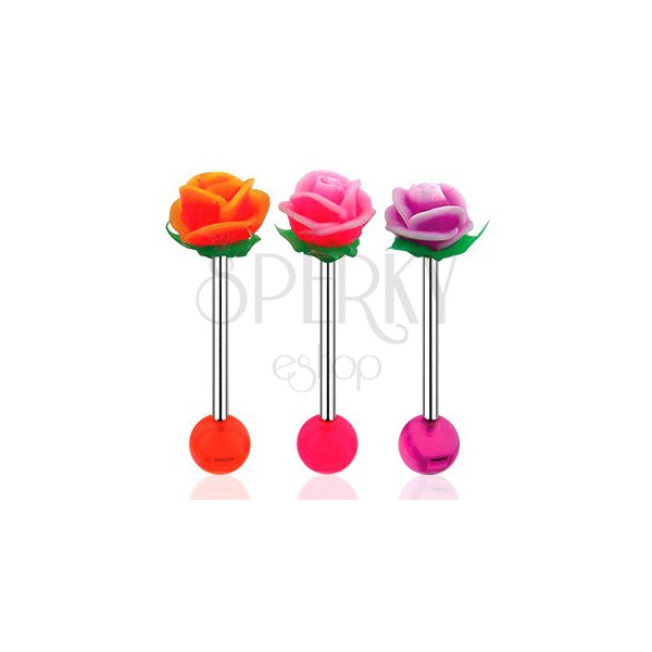 Tungue piercing, barbell made of 316L steel, acrylic ball and UV rose