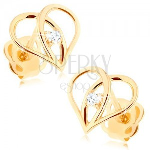 Diamond earrings made of 585 gold - heart contour with brilliant
