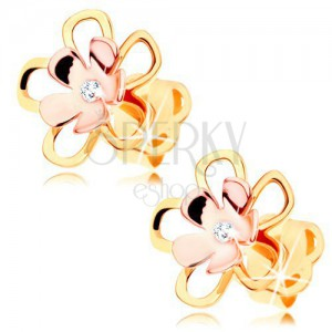 Earrings made of 14K gold - shiny bicoloured flower with clear diamond in the middle