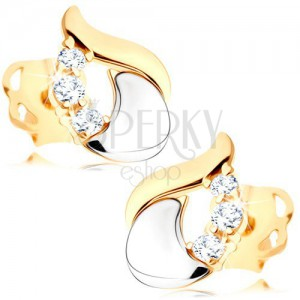 Diamond earrings - shiny teardrop made of 14K white and yellow gold, three clear brilliants