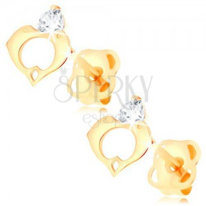 Earrings made of yellow 14K gold - clear diamond, heart contour composed of two dolphins