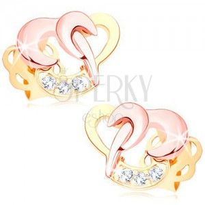 585 gold brilliant earrings - interconnected heart contours, clear diamonds