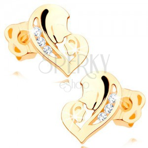 Diamond earrings made of yellow 14K gold - heart composed of two faces, clear brilliants