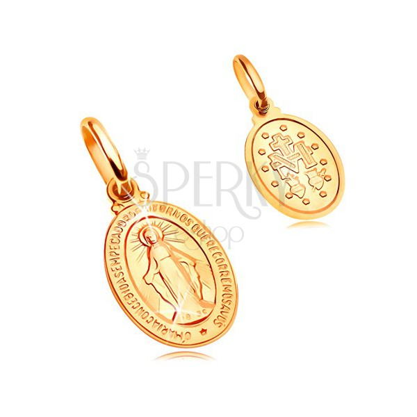 Pendant Made Of Yellow 14k Gold Oval Tag With Symbols Of Virgin