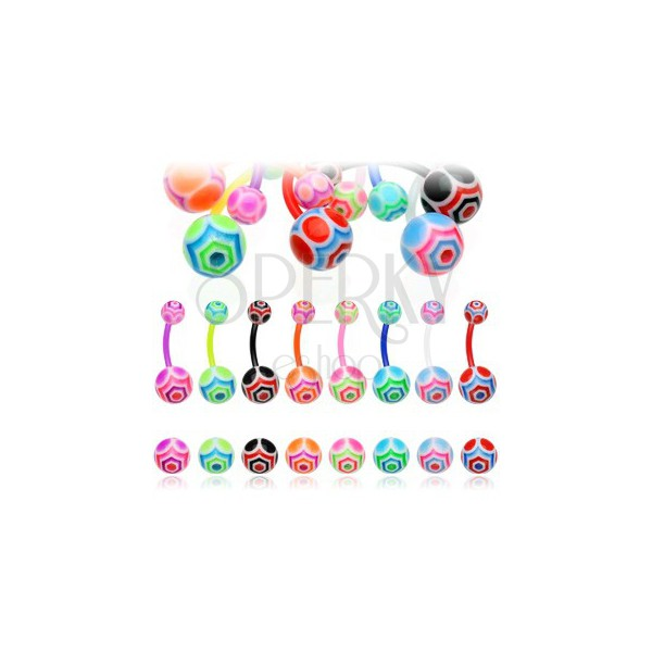 Colorful UV ball belly ring