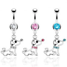 Belly ring -  dog with zirconic collar