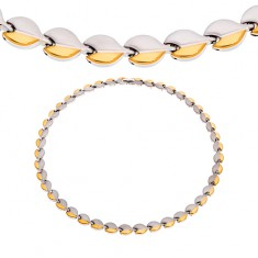 Steel necklace with magnets, rounded links in silver and gold colour