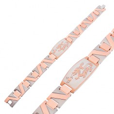 Steel bracelet with Chinese dragon and zigzag strip in copper colour