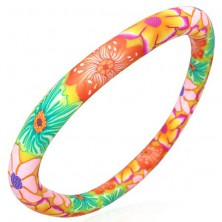 FIMO bracelet - colourful flowers in orange colour